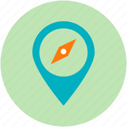 compass sign, destination, gps, map pin, navigational concept icon