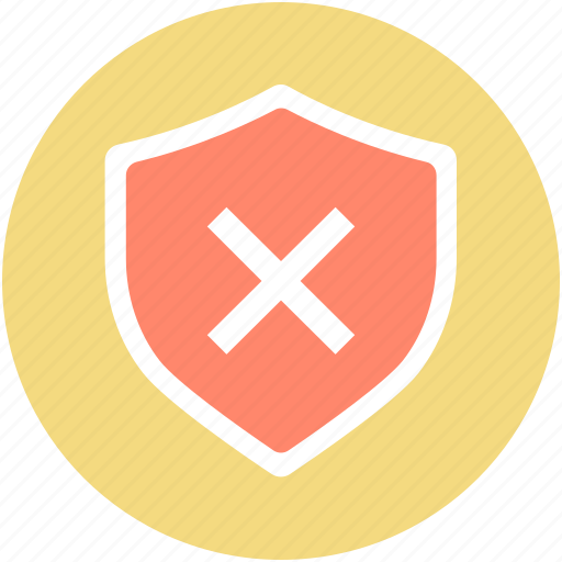 insecure, risky, shield cross, unsafe, unsure icon