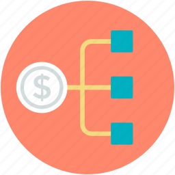 connection, connectivity, dollar hierarchy, networking, share icon