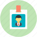 employee card, id, identification, identity card, volunteer card icon