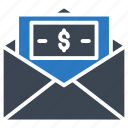 cash, dollar, envelope, money, open icon
