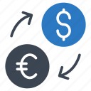 currency, dollar, euro, exchange, transfer icon