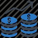 dollar, earning, growth, increase, money icon