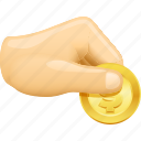 buying, cash, coin, hand, money, paying icon