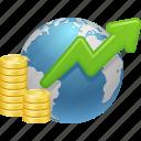 coins, economy, global, global business, global finance, globe, money icon