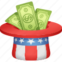 bills, donation, hat, money, paying taxes, taxes, uncle sam icon