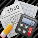 calculator, doing taxes, pencil, tax, tax form, taxes icon