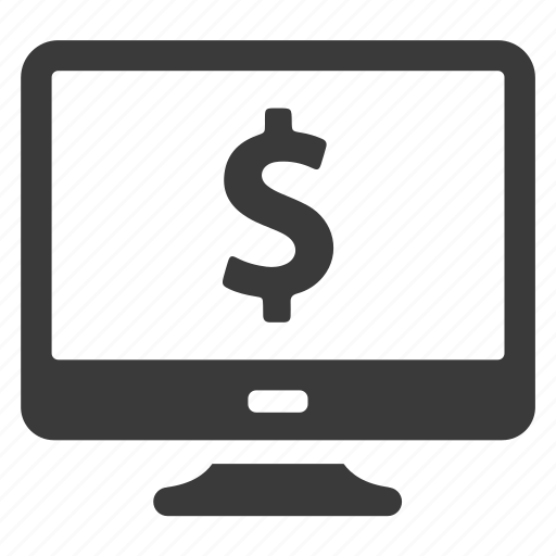 business, cash, computer, dollar, finance, money, monitor icon