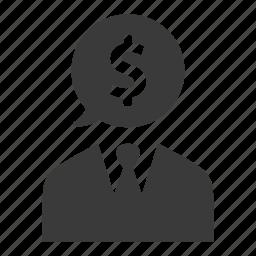 advisor, banking, businessman, finance, investor, money, user icon