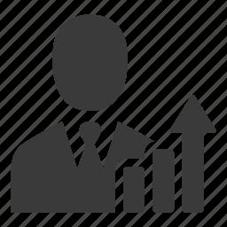 business, businessman, growth, income, increase, profit, salesman icon