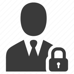 businessman, lock, locked, password, protect, safe, secure icon