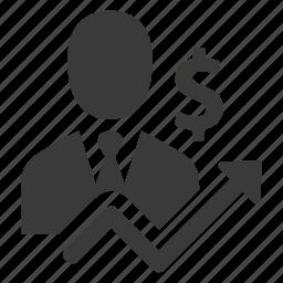businessman, finance, income, increase, money, person, profit icon