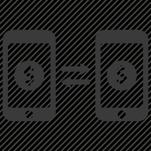 banking, conversion, dollar, mobile, money, send, transaction icon