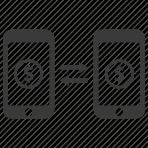 banking, conversion, dollar, money, phone, send, transaction icon
