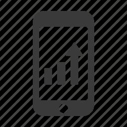 analytics, chart, graph, increase, mobile, profit, smartphone icon