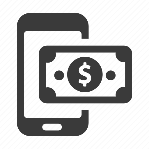 cash, dollar, finance, mobile, payment, phone icon