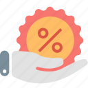 discount, hand, offer, percent, percentage, price, sale icon