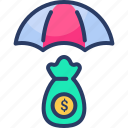 currency, dollar, investment, parasol, safe investment, umbrella