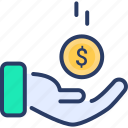 donation, funding, hand icon