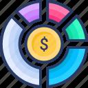 analytics, coin, dollar, finance, investment, pie chart, statistics