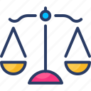 balance, judgement, justice, law, scales icon