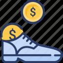 boot, cash, cash stash, shoe, stash icon