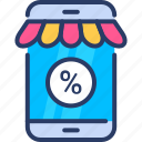 discount, mobile, mobile commerce, percentage, phone, shop icon