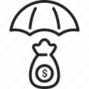 currency, dollar, investment, parasol, safe investment, umbrella icon