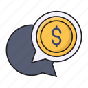 bubble, chat, conversation, dollar, money icon