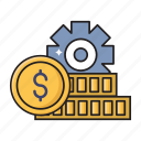 coins, dollar, finance, money, setting icon