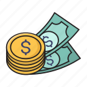 coins, currency, dollar, money, saving icon