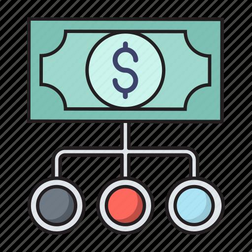 chart, connection, dollar, finance, money icon