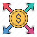 connection, dollar, finance, money, transfer icon