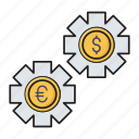 dollar, finance, management, money, setting icon