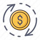 dollar, exchange, finance, money, transfer icon