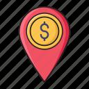 dollar, location, map, marker, pin