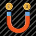 attract, dollar, euro, magnet, money icon