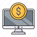 dollar, finance, online, pay, screen icon