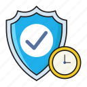 deadline, protection, safety, security, shield icon