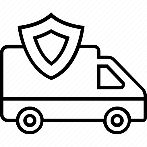 delivery van, logistics, safe shipping, shield, shipping icon