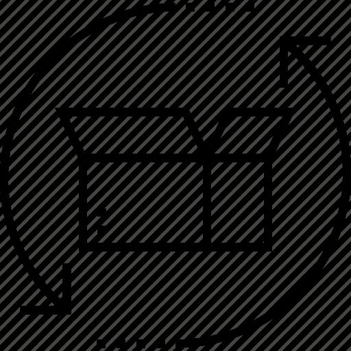 box, delivery box, logistics, open box, processing icon