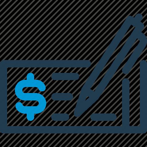 Bill, budget, check, dollar, finance, money, pen icon - Download on Iconfinder