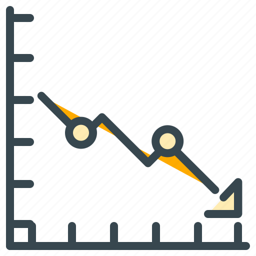 arrow, chart, decrease, down, finance, graph icon
