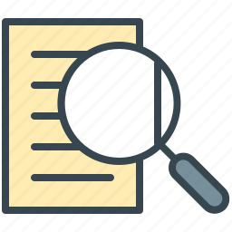 document, finance, find, magnifier, search, view, zoom icon