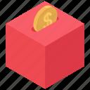 cashbox, coin box, dollar, finance, payment icon