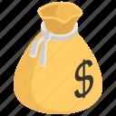 cash, dollar, financial, money, money sack icon