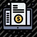 bill, internet, invoice, price, purchase