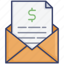 document, email, envelope, finance, mail, message, money