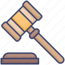 gavel, hammer, javel, judge, judgement, law icon