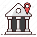bank, bank building, bank location, depository house, financial institute, location, real estate icon